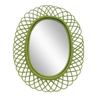 Franco Albini Oval Rattan Wall Mirror