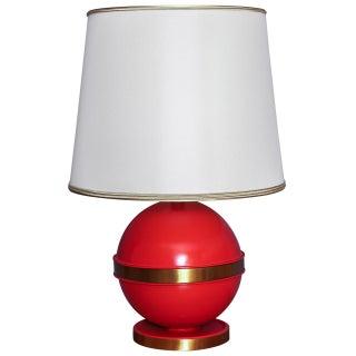 1970s Vintage Mid-Century Orange Globe Table Lamp
