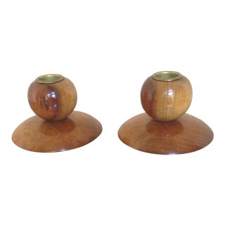 Vintage Myrtlewood Candle Holders- A Pair
