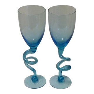 Vintage 70s Teal Glass Goblets With Coil Stem – A Pair