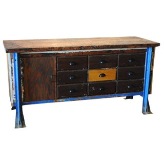 Vintage Wood Workbench Table or Console