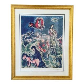 """Marc Chagall """"Sur La Route Du Village"""" Photomechanical Graphic Print"""