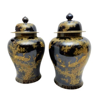 Famille Noire Porcelain Ginger Jars - A Pair