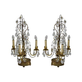 Brass Crystal Candelabra Table Lamps - A Pair
