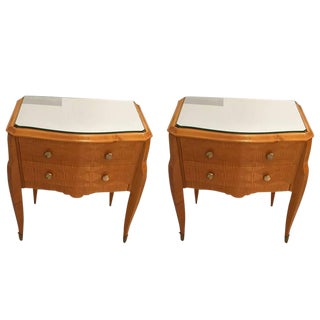 Art Deco Maple End Tables with Mirrored Tops - A Pair
