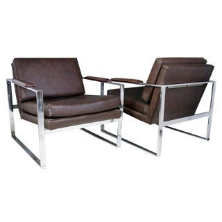 Milo Baughman Leather Lounge Chairs - A Pair