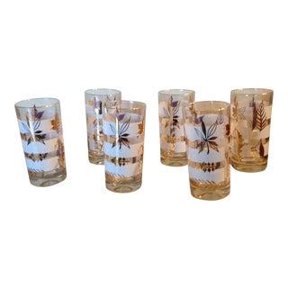 Vintage Gold Leaf Design Glasses - Set of 6