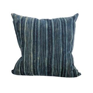 African Indigo Farmhouse Stripe Pillow