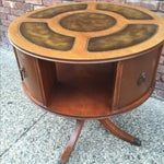 Image of Antique Drum Table Leather Top Lions Head & Feet