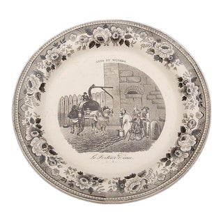 Antique French Black and White Transferware Plate c. 1870
