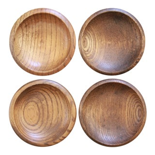 Turned Teak Salt Cellars - Set of 4