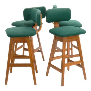 Vamdrup Stolefabrik Danish Teak A/S Swivel Bar Stools - Set of 4