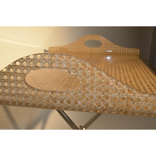 Gabriella Crespi for Dior Home Wicker and Brass Butler's Tray on Stand - Image 4 of 9