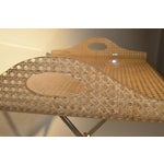 Image of Gabriella Crespi for Dior Home Wicker and Brass Butler's Tray on Stand