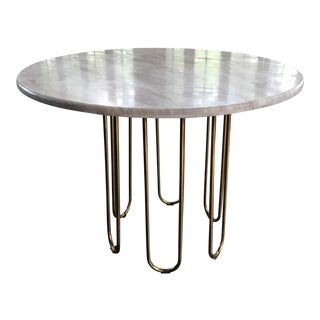"Golden ""Paper Clip"" Scalintella Design Table W. Marble Top"