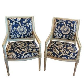 Indigo Blue Bird Vintage Spindle Armchair - Pair