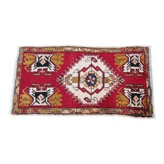 Handmade Vintage Turkish Carpet - 3' 1'' X 1' 8''