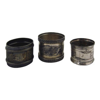 Eclectic Silverplate Napkin Rings- Set of 3