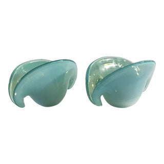 Vintage Turquoise Murano Shell Bowls - A Pair