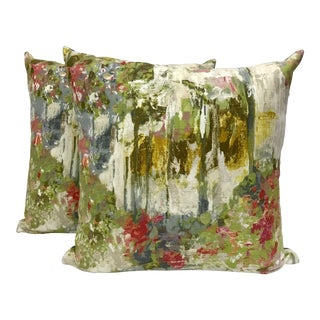 Linen Impressionist Designer Pillows - a Pair