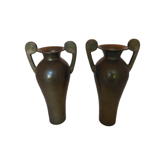 Image of Vintage Brass Etruscan-Style Vases - A Pair