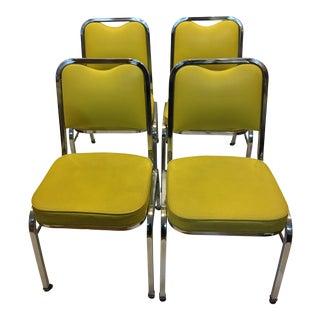 Mid-Century Chrome & Vinyl Chairs- Set of 4