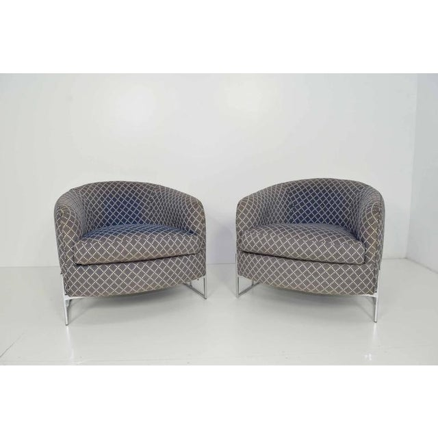 Unique Pair of Milo Baughman/Thayer Coggin Lounge Chairs with Chrome Frame - Image 4 of 7