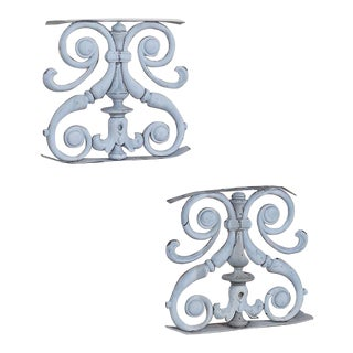Pair Antique French Zinc Balustrade Garden Ornaments circa 1850