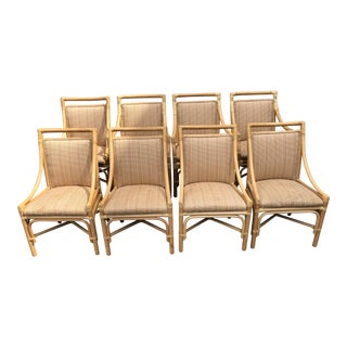 McGuire style Leather Wrapped Rattan Chairs - Set of 8