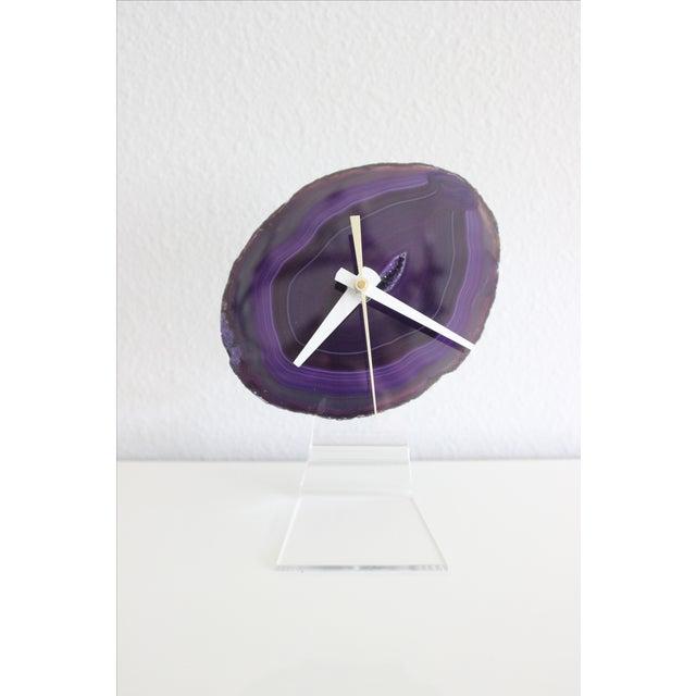 Image of Minimalist Purple SoLo Agate Clock on Lucite