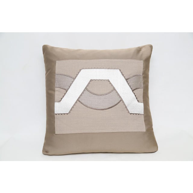 Image of Beige Satin Wave Pillow