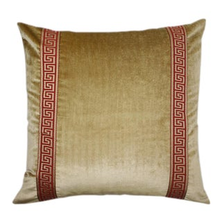 Gold Velvet With Red and Gold Greek Key Trim Pillow