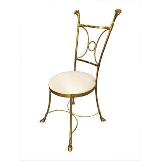Hollywood Regency Rams Head Brass Chair, 1960s