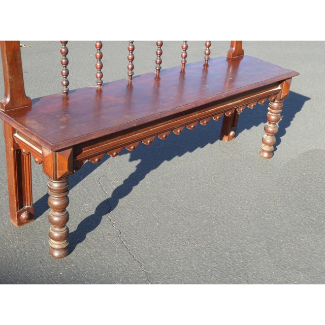 Vintage Spanish Colonial Style Carved Wood Spindle Bench - Image 7 of 10
