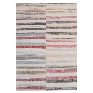 Vintage Turkish Striped Rag Rug - 7′6″ × 11′2″