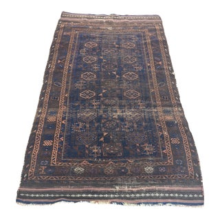 "Antique Persian Baluch Scatter Rug - 3'3"" X 5'10"""