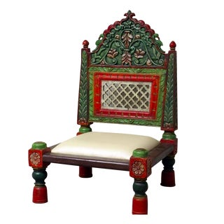 Hand Painted Carved Wood Low Chair