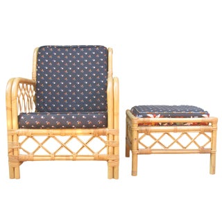 Ficks Reed Bamboo Chair & Ottoman / Side Table