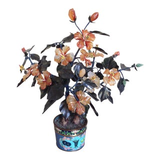 Vintage Flowering Jade Tree in Cloisonné Planter