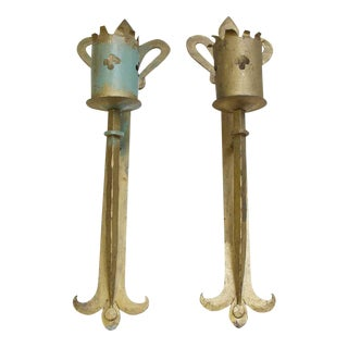 Wrought Iron Gothic Torch Wall Sconces - A Pair