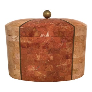 Tessellated Stone & Brass Box