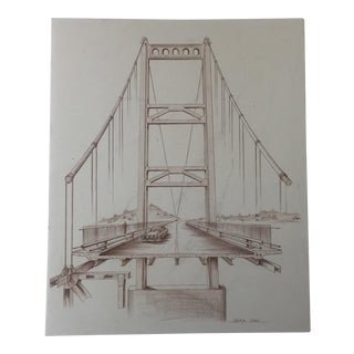 Mid-Century Golden Gate Bridge Architectural Sketch
