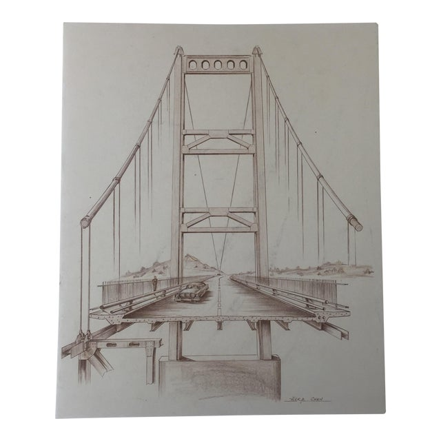Mid-Century Golden Gate Bridge Architectural Sketch - Image 1 of 9