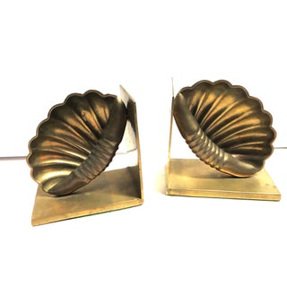 Brass Shell Bookends - A Pair
