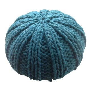 Vintage Turquoise Knit Pouf Ottoman