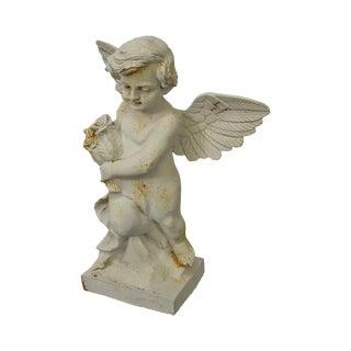 Cast Iron Garden Statue of Cherub Angel w/ Wings