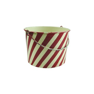 Vintage 1940s Red & White Striped Pail