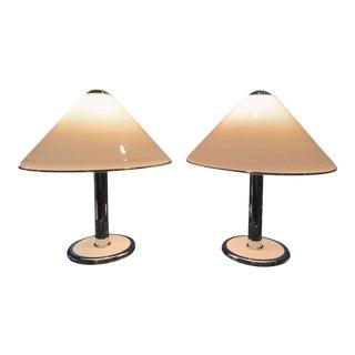 Italian Chrome & White Enamel Table Lamps - A Pair