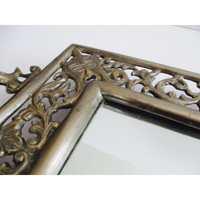 Vintage Ornate Silver Filigree & Mirrored Tray - Image 8 of 10