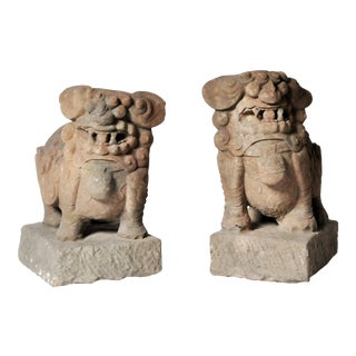 Pair of Chinese Stone Guardian Lions